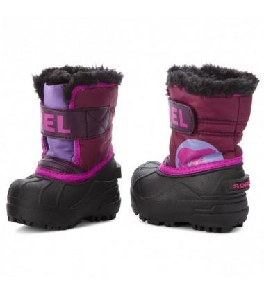 Sorel žiemos batai Childrens Snow Commander. Spalva tamsiai rožinė