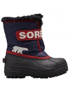 Sorel žiemos batai Childrens Snow Commander. Spalva juoda / raudona / mėlyna