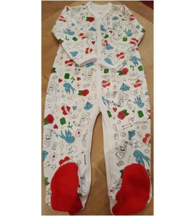 Garnamama kombinezonas / pižama. Spalva balta / raudona