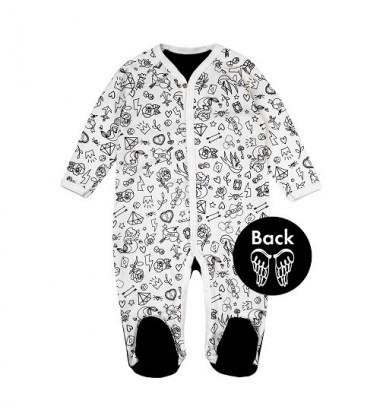 Garnamama kombinezonas / pižama. Spalva balta su juodais paveikslėliais