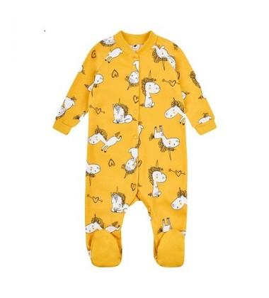 Garnamama kombinezonas / pižama. Spalva geltona su vienaragiais