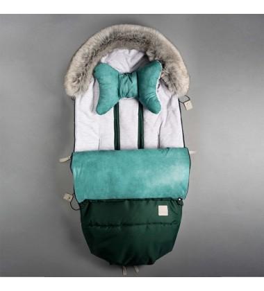 Beztroska vokas į vėžimėlį rudeniui / žiemai. Spalva žalia ( dydis 110cm )