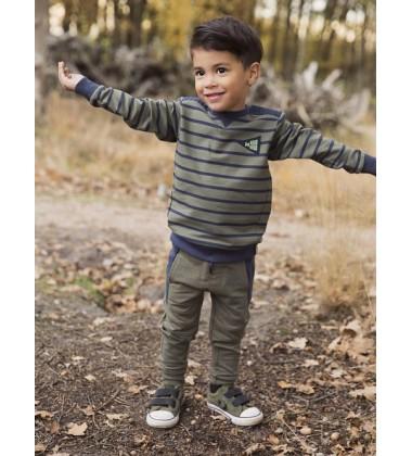 Koko - Noko dryžuotas džemperis berniukui. Spalva chaki/  tamsiai mėlyna
