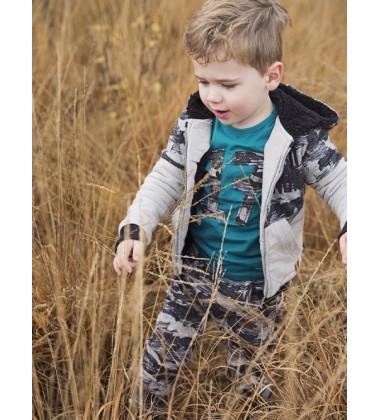 Koko - Noko džemperis su užtrauktuku berniukui. Spalva pilka/ juoda