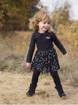 Koko - Noko mergaitiška suknelė su apykakle. Spalva juoda / tamsiai mėlyna / rožinė