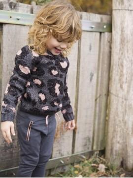 Koko - Noko leopardo rašto megztinis mergaitei. Spalva juoda/ pilka / rožinė