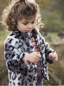 Koko - Noko leopardo rašto švarkelis mergaitei. Spalva pilka/ juoda