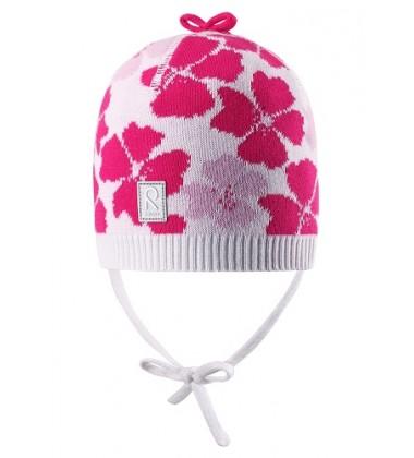 Reima pavasario kepurė Brisky. Spalva balta su rožinėmis gelytėmis