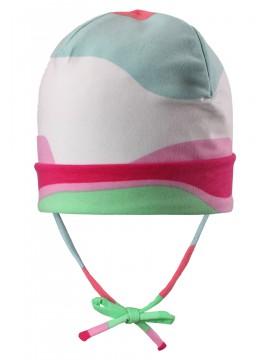 Reima pavasario kepurė su raišteliais Huvi. Spalva rožinė / žalia / žydra