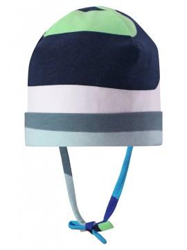 Reima pavasario kepurė su raišteliais Huvi. Spalva balta / mėlyna / žalia