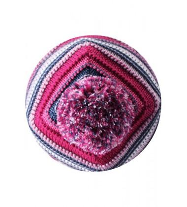 Reima kepurė Kumpu. Spalva tamsiai rožinė / dryžuota