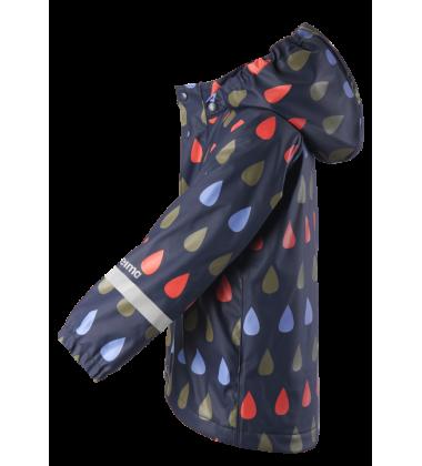 Reima lietaus striukė su fliso pašiltinimu Koski. Spalva tamsiai mėlyna su įvairiaspalviais lašeliais