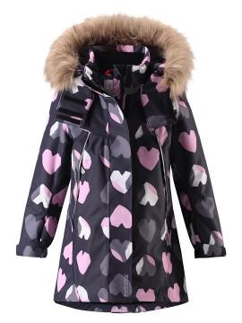 Reimatec žiemos striukė Muhvi. Spalva juoda su rožinėmis širdelėmis