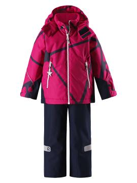 Reimatec žiemos 2-jų dalių  komplektukas Grane. Spalva tamsiai mėlyna su ryškiai rožiniu printu