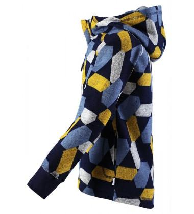 Reima flisinis švarkelis Northern. Spalva mėlyna su spalvotais ornamentais