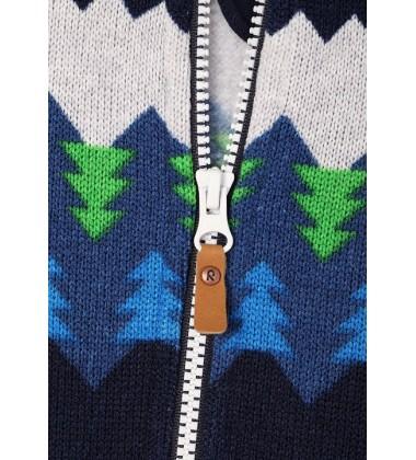 Reima flisinis švarkelis Brollies. Spalva mėlyna/ žalia su ornamentais