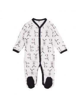Garnamama kombinezonas / pižama. Spalva balta su triušiukais