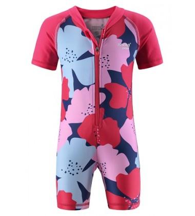 Reima maudymosi kostiumėlis ODESSA. Spalva rožinė / raudona su gėlytėmis