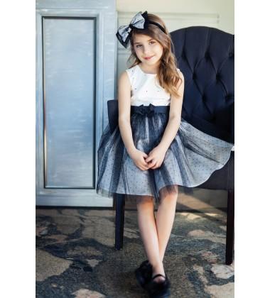Sly vaikiška suknelė. Spalva juoda / balta