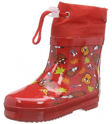 Playshoes guminiai botai su pašiltinimu. Spalva raudona su gyvūnėliais