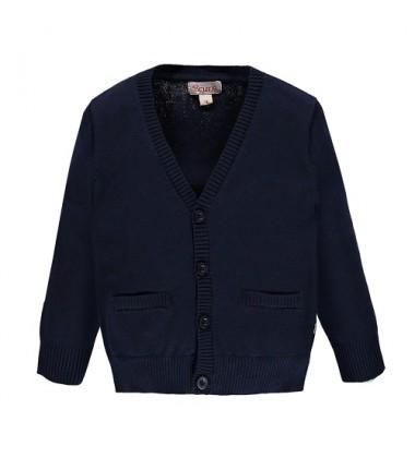 Brums vaikiškas klasikinio stiliaus megztinis su sagomis. Spalva tamsiai mėlyna