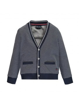 Brums vaikiškas klasikinio stiliaus megztinis su sagomis. Spalva mėlyna / balta