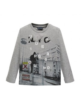Brums vaikiški marškinėliai ilgomis rankovėmis. Spalva pilka
