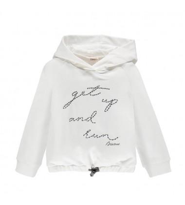 Brums laisvailaikio džemperiukas mergaitėms. Spalva balta