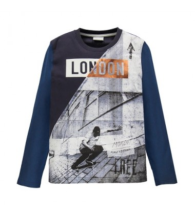 Brums vaikiški marškinėliai ilgomis rankovėmis. Spalva balta / tamsiai mėlyna / mėlyna