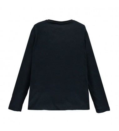 Brums marškinėliai mergaitėms ilgomis rankovėmis. Spalva juoda