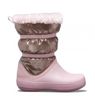 Crocs™ žieminiai batai Crocband LodgePoint Metallic. Spalva rožinė / auksinė