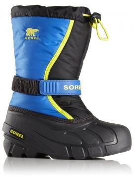 Sorel žiemos batai FLURRY. Spalva juoda su mėlyna / geltona
