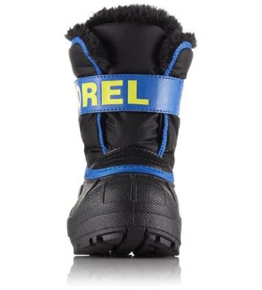 Sorel žiemos batai Childrens Snow Commander. Spalva juoda su mėlyna / geltona