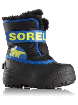 Sorel žiemos batai Childrens Snow Commander. Spalva juoda su mėlyna / geltona 2018