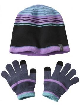 Columbia pirštinių ir kepurės komplektukas. Spalva violetinė su žaliu