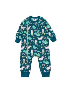 Garnamama kombinezonas / pižama. Spalva tamsiai žalia su printu