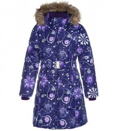 Huppa Žiemos Paltukas Mergaitėms YACARANDA. Spalva Tamsiai Alyvinė Su Printu