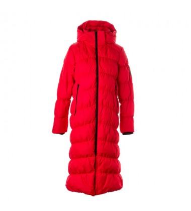 Huppa žiemos pūkinis paltas moterims NAIMA. Spalva raudona