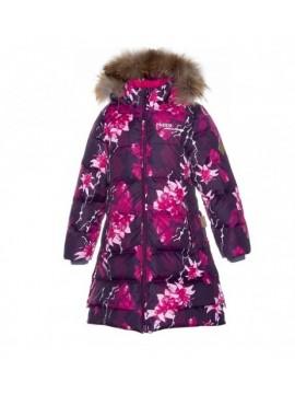 Huppa Pūkinis Žiemos Paltukas Mergaitėms PARISH. Spalva Bordinė Su Printu