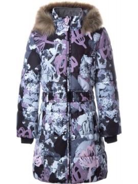 Huppa Žiemos Paltukas Mergaitėms YACARANDA. Spalva pilka su printu 2020