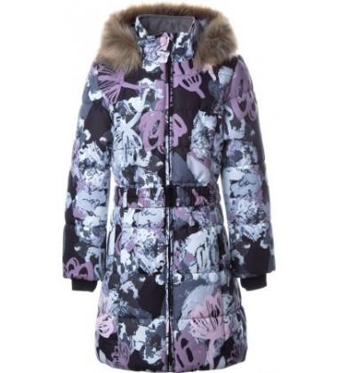 Huppa Žiemos Paltukas Mergaitėms YACARANDA. Spalva pilka su printu