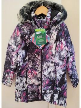 Huppa žiemos paltukas PATRICE 1. Spalva violetinė su printu