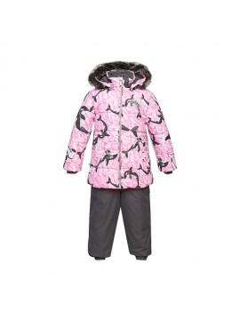 Huppa Žieminis Komplektas Mergaitėms BELINDA 1. Spalva šviesiai rožinė su printu / pilka
