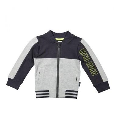 Koko - Noko  džemperis su užtrauktuku berniukui. Spalva tamsiai / šviesiai pilka
