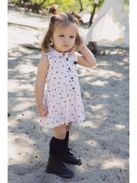 Koko - Noko vaikiška suknelė su širdutėmis. Spalva kreminė