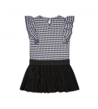 Koko - Noko suknelė mergaitėms. Spalva pilka su printu / tamsiai  pilka
