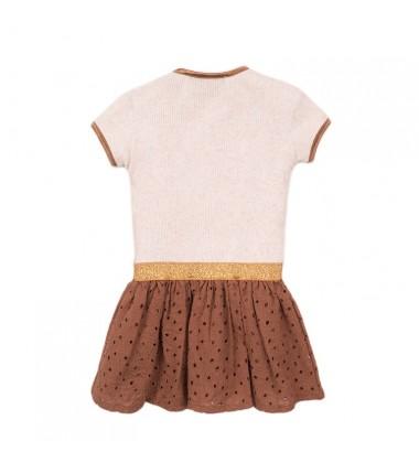 Koko - Noko suknelė mergaitėms. Spalva kreminė / ruda