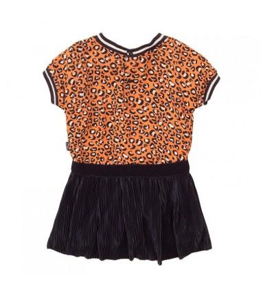 Koko - Noko suknelė mergaitėms. Spalva oranžinė su printu / tamsiai mėlyna