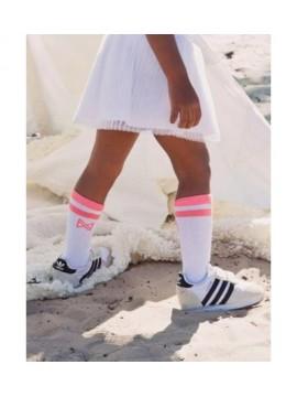 Koko - Noko vaikiškos ilgos kojinės. Spalva balta / koralinė