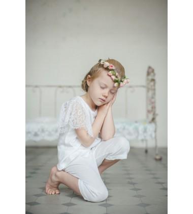 Amiki Children pižama mergaitėms Paula. Spalva balta